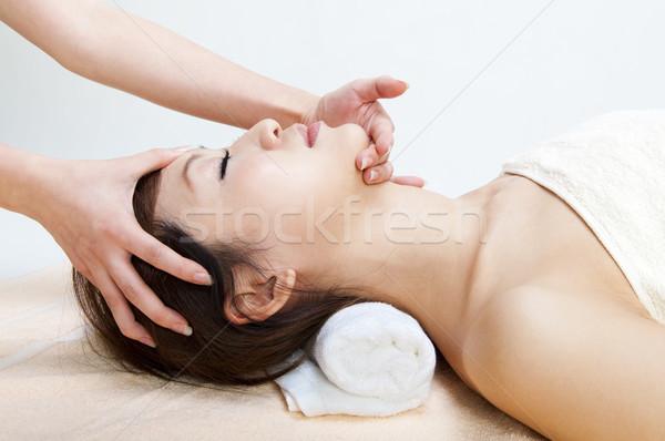 Cara massagem jovem mulher mão Foto stock © szefei