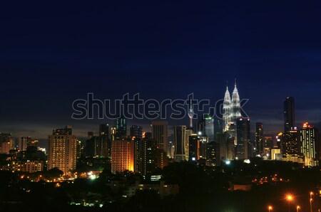 Куала-Лумпур ночь пейзаж Skyline город Малайзия Сток-фото © szefei