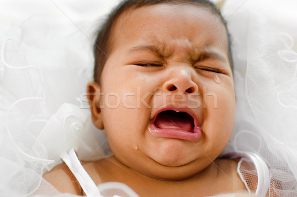 Crying Indian baby girl Stock photo © szefei