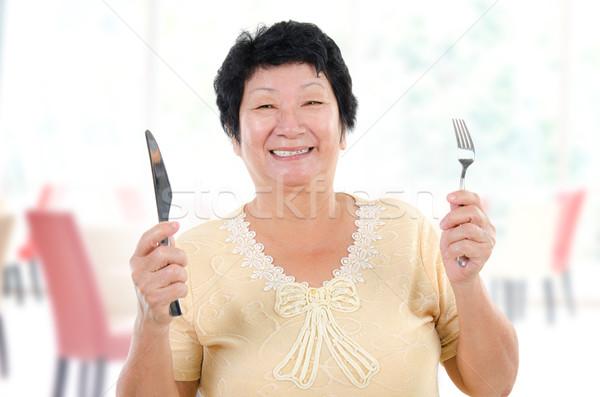 Anyák nap étel boldog ázsiai idős Stock fotó © szefei