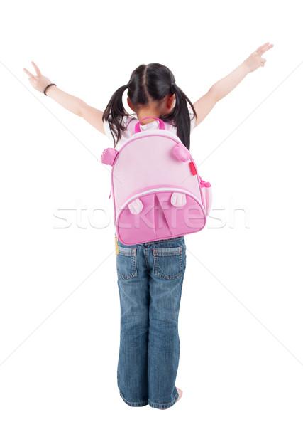 Egészalakos hátsó nézet ázsiai gyermek alapfokú diák Stock fotó © szefei