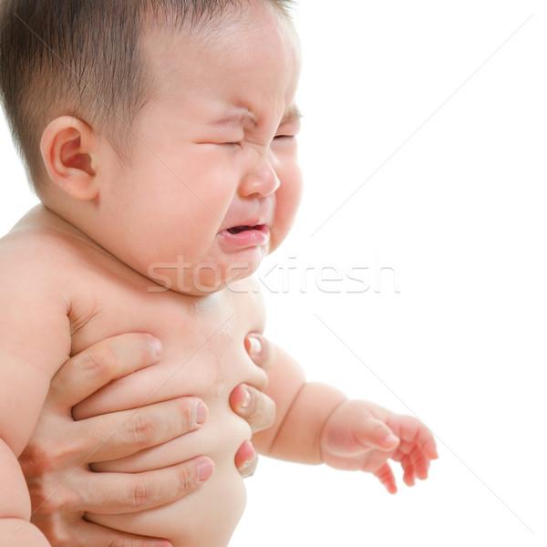 Triste Asia bebé nino llorando sesión Foto stock © szefei