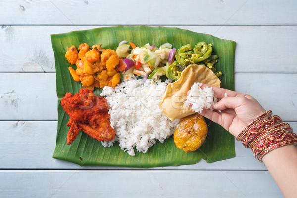 Stok fotoğraf: Hint · kadın · yeme · muz · yaprak · pirinç