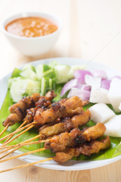 Asian delicacy chicken satay Stock photo © szefei