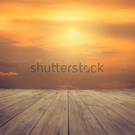 Sunset mid air view from wood platform Stock photo © szefei
