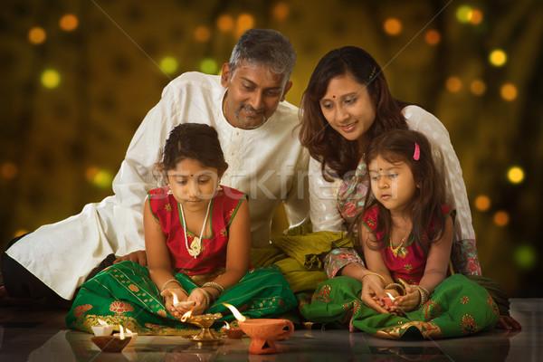 Family celebrating Diwali Stock photo © szefei