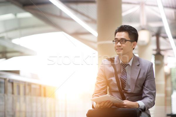 ビジネスマン アジア デジタル コミューター ストックフォト © szefei