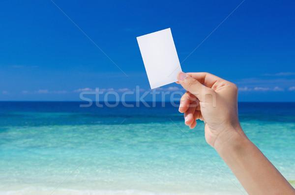 El boş kart tropikal plaj iş plaj Stok fotoğraf © szefei