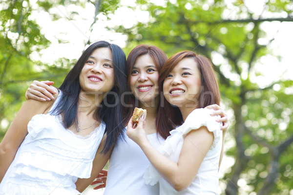 Asian young girls having fun Stock photo © szefei