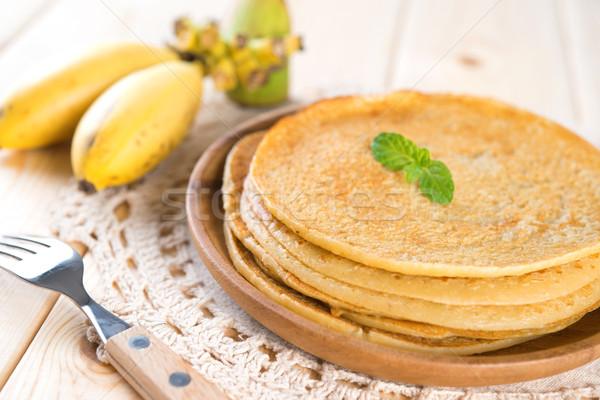 Banaan pannenkoek eettafel pannenkoeken crêpe voedsel Stockfoto © szefei