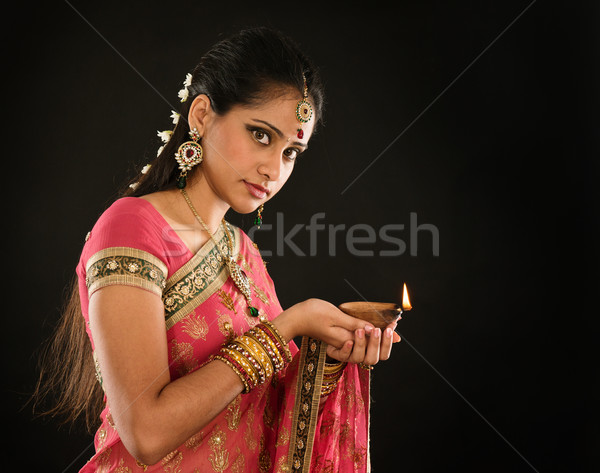Diwali Indian girl Stock photo © szefei