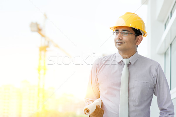Handsome Asian Indian male site contractor engineer Stock photo © szefei