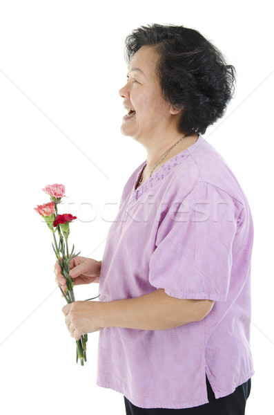 Mujer clavel flor madres día Foto stock © szefei