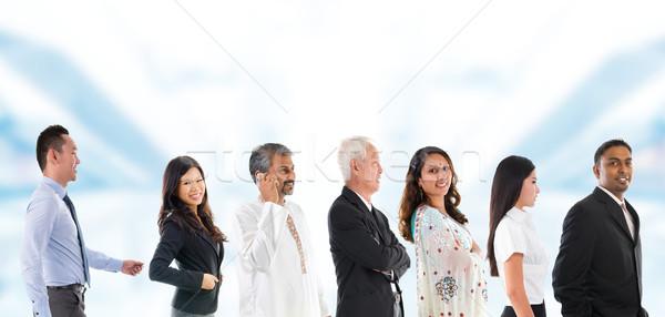 Csoport ázsiai emberek felfelé személy vonal Stock fotó © szefei