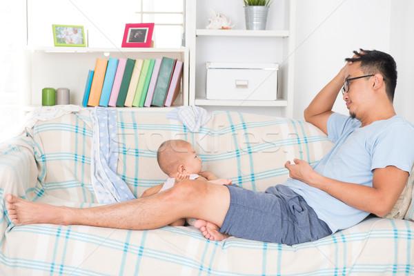 Fáradt apa gyermek apuci huncut baba Stock fotó © szefei