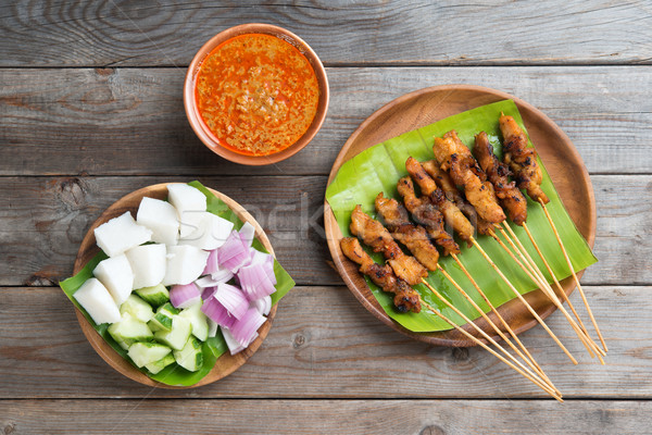 Malaysian chicken sate Stock photo © szefei