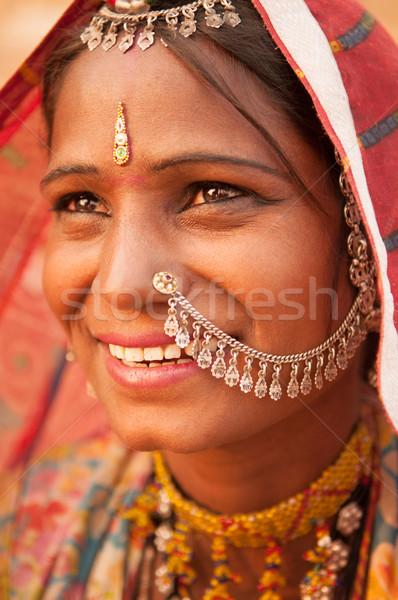 Traditional Indian female smiling Stock photo © szefei