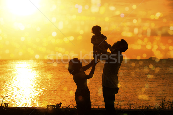 Foto stock: Silhueta · família · ao · ar · livre · praia · pôr · do · sol · família · feliz