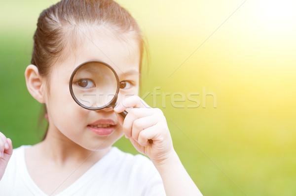 Zdjęcia stock: Asian · dziecko · szkła · odkryty · portret