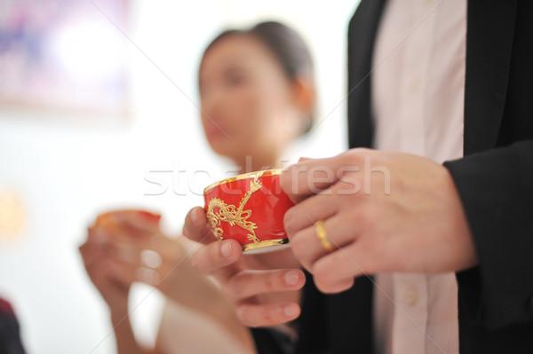 Tradicional chino boda té ceremonia enfoque Foto stock © szefei