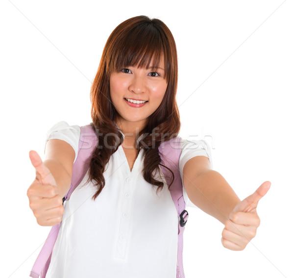 Remek ázsiai főiskolai hallgató portré mosolyog fiatal Stock fotó © szefei