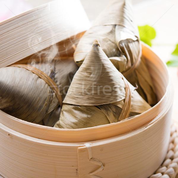 Rizs gombóc forró hagyományos párolt kínai étel Stock fotó © szefei