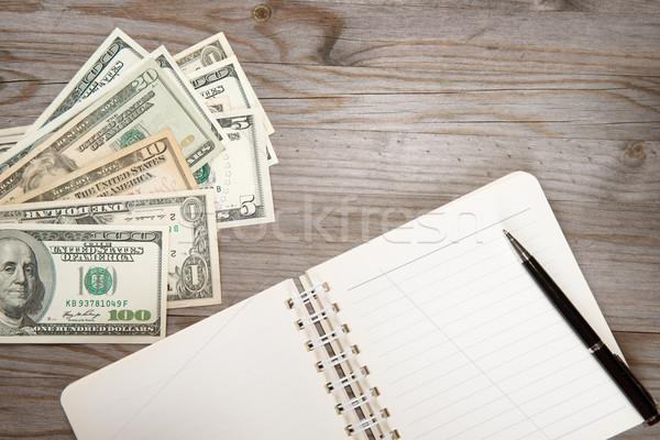 Dollár napló felső kilátás bank jegyzetek Stock fotó © szefei