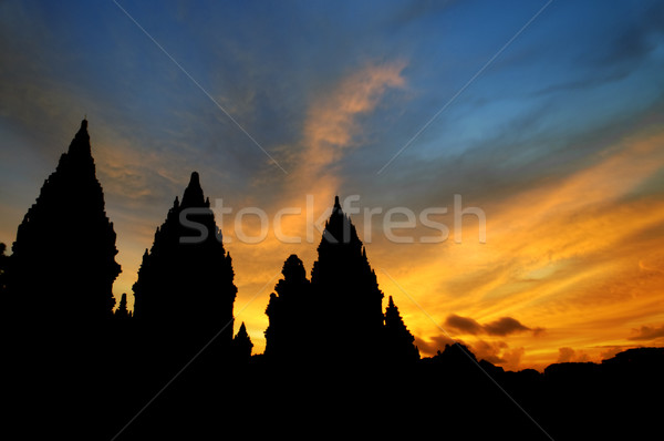 Foto stock: Templo · dramático · cielo · sol · Indonesia · central