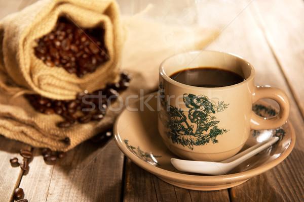 Traditional style Hainan coffee in vintage mug Stock photo © szefei