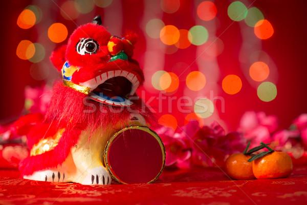 Chinese New Year objects miniature dancing lion Stock photo © szefei