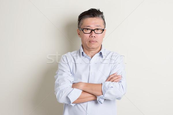 Stock fotó: Portré · érett · ázsiai · férfi · emberek · keresztbe · tett · kar