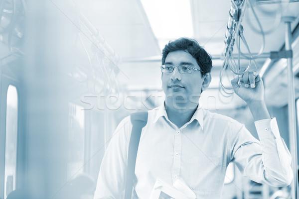 Homem transporte público asiático indiano trabalhar Foto stock © szefei