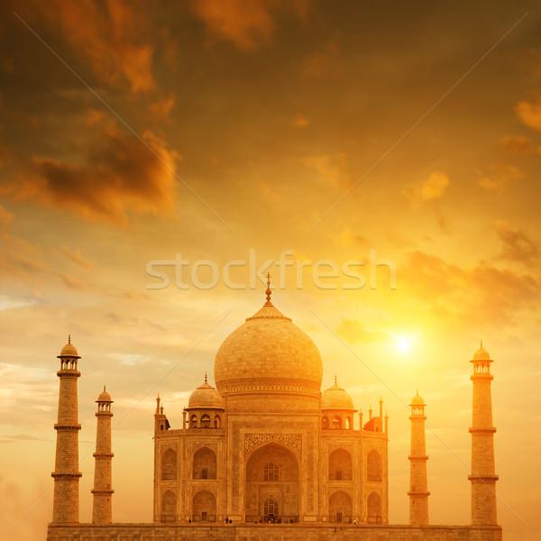 Taj Mahal India elöl kilátás naplemente szeretet Stock fotó © szefei