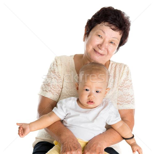 Nagymama unoka portré ázsiai unoka izolált Stock fotó © szefei
