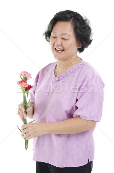 старший женщину гвоздика цветок день Сток-фото © szefei