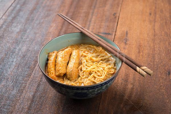 Fűszeres curry tészta ázsiai konyha forró tészta Stock fotó © szefei