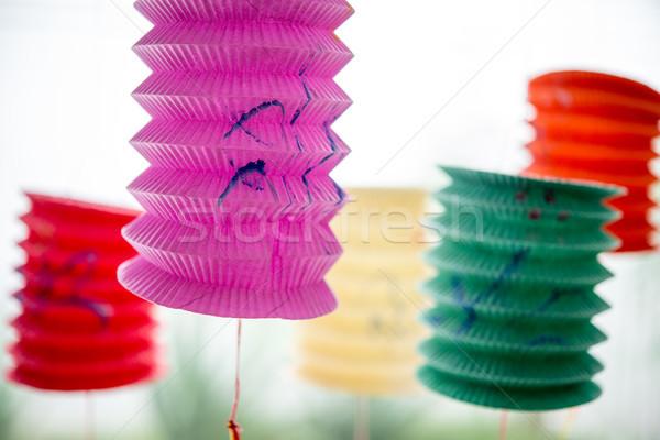 Festival lanterne parco carta abstract luna Foto d'archivio © szefei