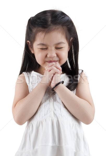 Meisje gezicht gelukkig haren achtergrond aanbidden Stockfoto © szefei