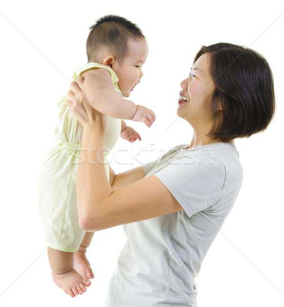 Crianza de los hijos Asia madre jugando bebé nino Foto stock © szefei