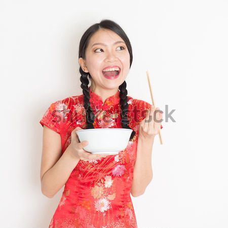 Kínai lány áldás hagyományos izolált fehér Stock fotó © szefei