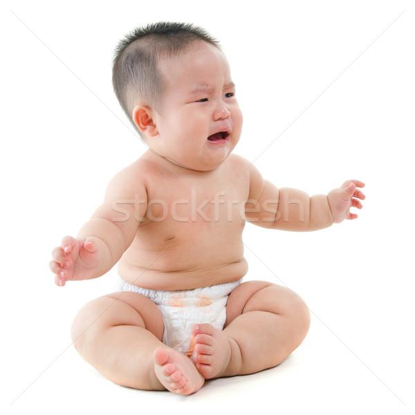 Choro asiático bebê menino comida Foto stock © szefei