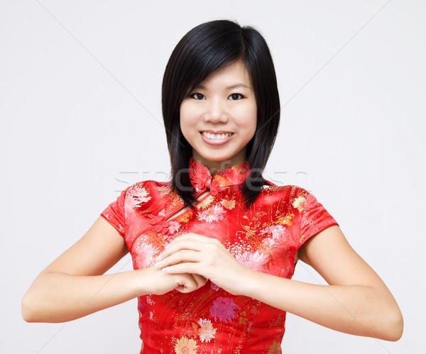 Boldog kínai új év távolkeleti lány tavasz ázsiai Stock fotó © szefei