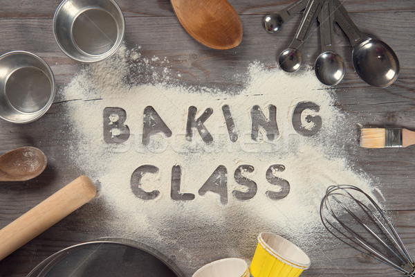 Stock photo: Word baking class written in white flour