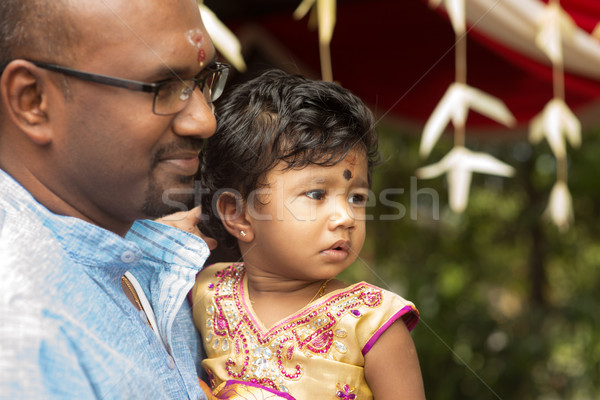 Candid shoot of Indian father and daughter Stock photo © szefei
