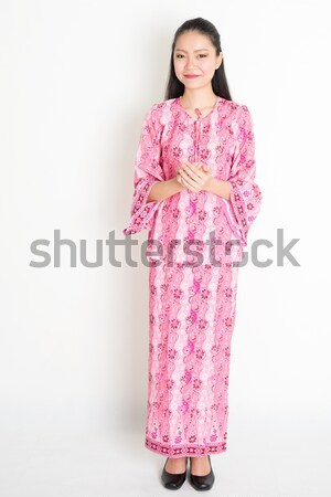Güneydoğu Asya kadın tebrik portre genç Stok fotoğraf © szefei
