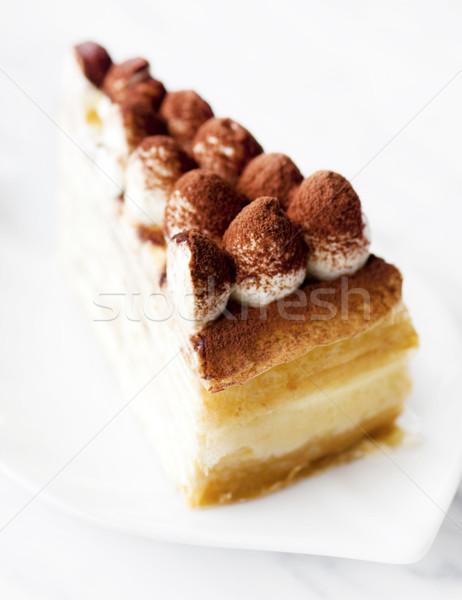 Тирамису креп пластина шоколадом торт Сток-фото © szefei