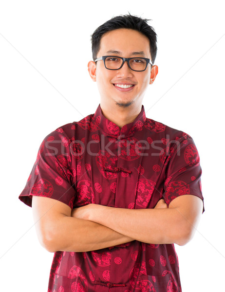 Chinese man in traditional Chinese Tang suit Stock photo © szefei
