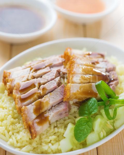 Siu Yuk or sliced Chinese boneless roast pork with crispy skin Stock photo © szefei
