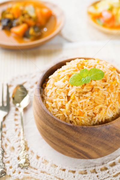 Foto stock: Indio · comida · vegetariana · arroz · curry · mesa · de · comedor · alimentos