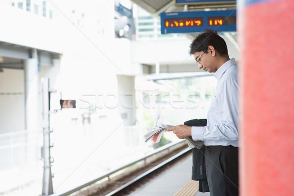 Indian business man waiting train Stock photo © szefei